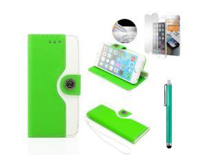 GEARONIC TM Dual Color Credit Card Holder PU Leather Flip Pouch Wallet Stand Hard Skin Case Cover for Apple iPhone 6 with Free Tempered Glass Screen Guard - Green