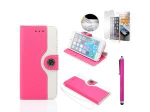 GEARONIC TM Dual Color Credit Card Holder PU Leather Flip Pouch Wallet Stand Hard Skin Case Cover for Apple iPhone 6 with Free Tempered Glass Screen Guard - Hot Pink
