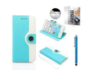GEARONIC TM Dual Color Credit Card Holder PU Leather Flip Pouch Wallet Stand Hard Skin Case Cover for Apple iPhone 6 with Free Tempered Glass Screen Guard- Light Blue