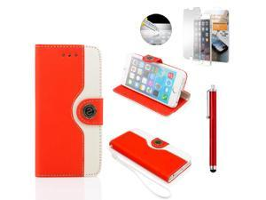 GEARONIC TM Dual Color Credit Card Holder PU Leather Flip Pouch Wallet Stand Hard Skin Case Cover for Apple iPhone 6 with Free Tempered Glass Screen Guard - Red