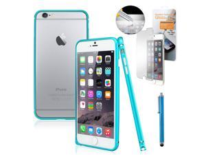 """GEARONIC TM Luxury Metal Aluminum Alloy Bumper Hard Frame Shell Case Cover for Apple iPhone 6 Plus 5.5"""" with Free Tempered Glass Screen Guard -  Blue"""