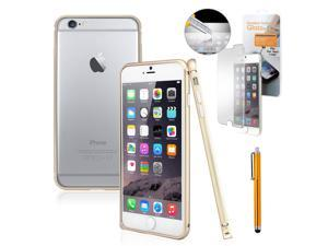 """GEARONIC TM Luxury Metal Aluminum Alloy Bumper Hard Frame Shell Case Cover for Apple iPhone 6 Plus 5.5"""" with Free Tempered Glass Screen Guard -  Gold"""