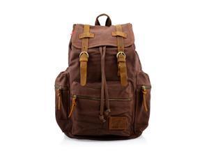 Men's Outdoor Sport Vintage Canvas Military BackBag Shoulder Travel Hiking Camping School Bag Backpack - Coffee