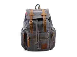 Men's Outdoor Sport Vintage Canvas Military BackBag Shoulder Travel Hiking Camping School Bag Backpack - Gray