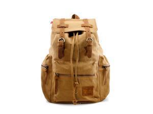 Men's Outdoor Sport Vintage Canvas Military BackBag Shoulder Travel Hiking Camping School Bag Backpack - Khaki