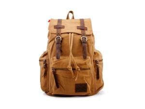 Men's Outdoor Sport Vintage Canvas Military BackBag Shoulder Travel Hiking Camping School Bag Backpack - Yellow