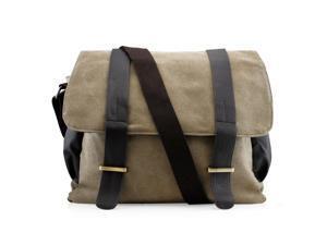 GEARONIC TM Men's Vintage Canvas Leather Satchel Travel School Military Shoudler Bag Messenger Briefcase Bag - Green