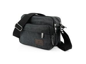 GEARONIC TM Men Vintage Crossbody Canvas Messenger Shoulder Bag School Hiking Military Travel Satchel - Black