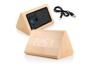 GEARONIC TM Modern Triangle Wood LED Wooden Alarm Digital Desk Clock Thermometer Classical Timer Calendar  - Bamboo (White Light)