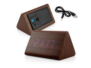 GEARONIC TM Modern Triangle Wood LED Wooden Alarm Digital Desk Clock Thermometer Classical Timer Calendar  - Brown (Blue Light)