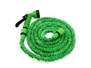 GEARONIC TM Expandable Flexible Stronger Deluxe Garden Water Hose w/ Spray Nozzle - 25ft- Green
