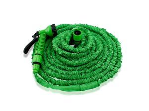 GEARONIC TM Expandable Flexible Stronger Deluxe Garden Water Hose w/ Spray Nozzle - 75ft- Green
