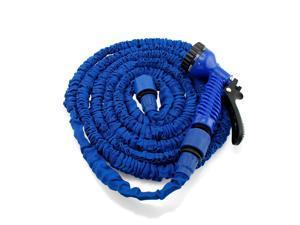 GEARONIC TM Expandable Flexible Stronger Deluxe Garden Water Hose w/ Spray Nozzle - 25ft- Blue