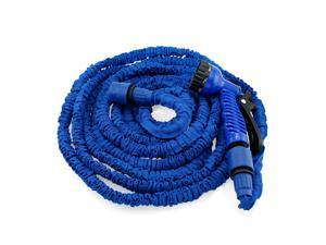 GEARONIC TM Expandable Flexible Stronger Deluxe Garden Water Hose w/ Spray Nozzle - 50ft- Blue