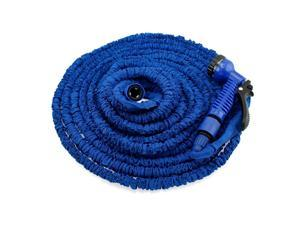 GEARONIC TM Expandable Flexible Stronger Deluxe Garden Water Hose w/ Spray Nozzle - 100ft- Blue
