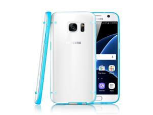 GEARONIC TM Slim Transparent Crystal Clear Hard TPU Cover Luminous Glow in the Dark Case for Samsung Galaxy S7 - Blue