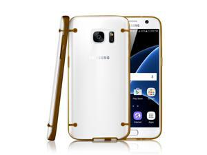 GEARONIC TM Slim Transparent Crystal Clear Hard TPU Cover Luminous Glow in the Dark Case for Samsung Galaxy S7 - Gold