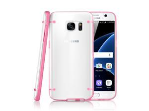 GEARONIC TM Slim Transparent Crystal Clear Hard TPU Cover Luminous Glow in the Dark Case for Samsung Galaxy S7 - Pink