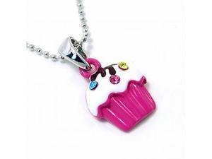 Hot Pink Mini Cupcake Pendant Necklace Fashion Jewelry
