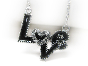 Crystal and Black Epoxy Love Pendant Necklace