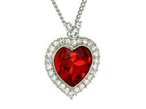 Red Siam Heart Pendant Necklace Fashion Jewelry