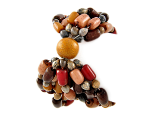 Red Brown and Wood Beaded Stretch Bangle Fashion Bracelet