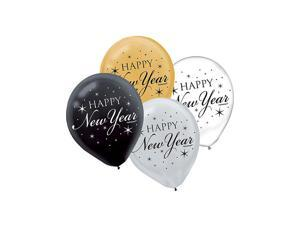 """Happy New Year 12"""" Latex Balloons (15 Count) - Party Supplies"""