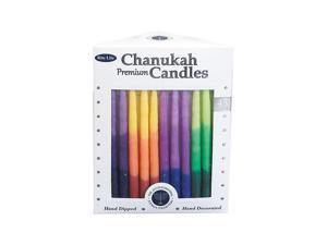 Premium Rainbow Tri-Color Hanukkah Candles (45 Candles) - Party Supplies