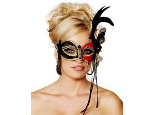 Venetian Red and Black Mask with Feathers