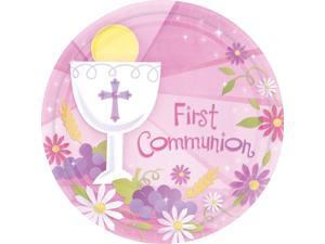"""First Communion Girl 10"""" Luncheon Plates (18 Pack) - Party Supplies"""