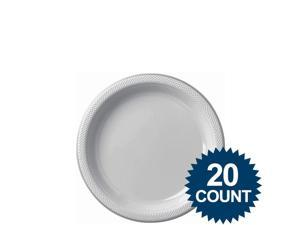 "Silver 7"" Plastic Cake Plates (20 Pack) - Party Supplies"