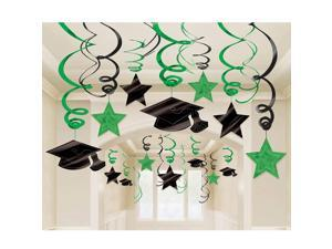 Graduation Foil Swirl Green Decorations (Each) - Party Supplies