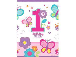 Sweet 1st Birthday Girl Plastic Table Cover (Each) - Party Supplies