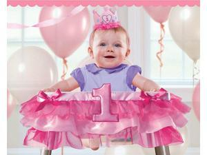 "1st Birthday Pink Tutu 37"" High Chair Decoration (Each) - Party Supplies"