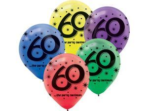 """The Party Continues 60th Birthday 12"""" Latex Balloons (15 Pack) - Party Supplies"""