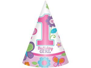 Sweet 1st Birthday Girl Cone Hats (8 Pack) - Party Supplies