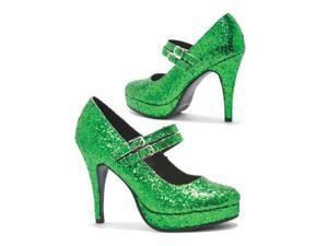Green Glitter Double Strap Adult Mary Jane