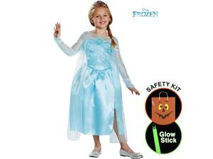 Elsa Snow Queen Gown Deluxe Halloween Trick or Treat Safety Kit