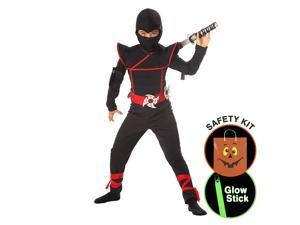 Boys Stealth Ninja Costume Halloween Trick or Treat Safety Kit