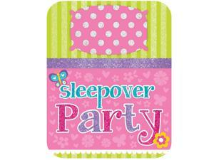Sleepover Party Glitter Birthday Party Invitations (8 Count) - Party Supplies