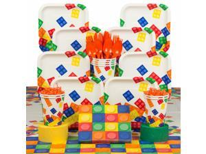 Block Party Birthday Deluxe Tableware Kit (Serves 8) - Party Supplies