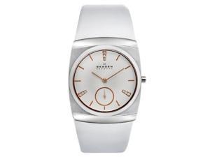 Skagen White Dial Stainless Steel White Leather Ladies Watch 511SSLWR