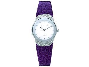 Skagen Denmark Purple Leather Glitz Ladies Watch 818SSLVV
