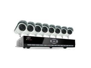 8 Channel H.264 Smart DVR Security System with Coaching iMenu and 8 Indoor/Outdoor Hi-Res CCD Night Vision Surveillance Cameras