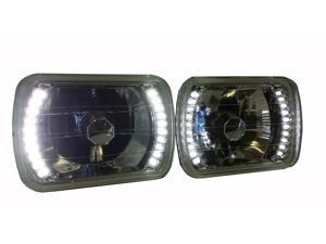 7 x 6 Euro Crystal LED Clear Sealed Beam Conversion Headlights Pair H6052 6054