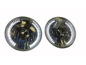 "7"" Round Crystal clear White LED Glass Sealed Beam Conversion headlights w Bulbs"