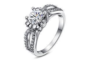 Single Cut Cubic Zirconia Stone  Round Jewelry Fashion Engagement Ring Size 8