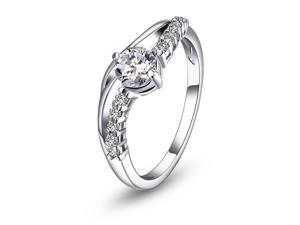 Fashion Jewlery Engagement Ring with White Zircon Stone Size 6