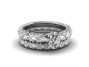 Fascinating Diamonds 0.50 Ct Oval Shaped Diamond Filigree Solitaire Bridal Rings Set 14K GIA