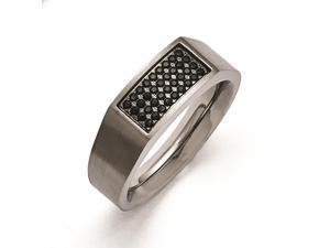 Titanium Polished and Brushed Black CZ Ring